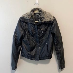 Joujou Quilted Faux Leather Faux Fur Collar Jacket